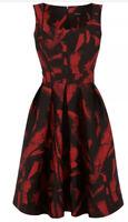 £250 Karen Millen Jacquard Dress Uk 14 Full Skirt Pockets Black Red Christmas