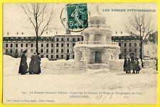 cpa GERARDMER (Vosges) CASERNE du 152e RI Concours SCULPTURE sur NEIGE Statue