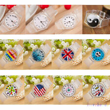 Womens Fashion Transparent Crystal Silicone Jelly Quartz Cartoon Wrist Watch