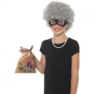 Kids Gangsta Granny Instant Kit Fancy Dress Outfit Book Week David Walliams