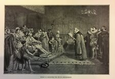 RARE 1882 Steel Engraving Henry III Receiving Dutch Ambassador European History