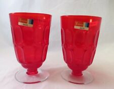 Vintage Retro Fostoria Mesa Red Glass Water Goblets Thumbprint pattern  Set of 2