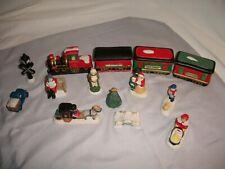 Vintage Porcelain Christmas Village Figures & Train 14 Pieces