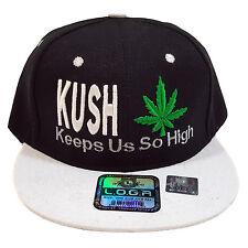 KUSH Keep Us So High Embroidered Black/White 100% Polyester Snapback Hat Cap