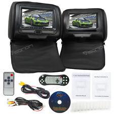 "Black 2x 7""HD Screen Car Headrest Monitors w/ DVD Player CD Sony Lens 32bit Game"