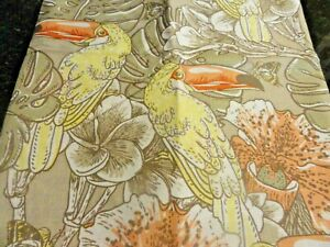 New Tan Peach Yellow TOUCAN Tropical bird Jungle Flowers Fabric SHOWER CURTAIN