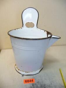 6844. Alter Emaille Email Melkeimer Eimer old enamel bucket