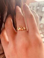 14k Solid Yellow Gold Claddagh Ring, Irish Jewelry,