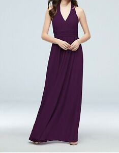 Davids bridal bridesmaid dress PLUM COLOR ONLY Halter Top ruched Waist Size 6