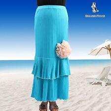 SHARON TANG Modest Apparel Blue Ruffle Big Pink Flower Maxi Skirt S