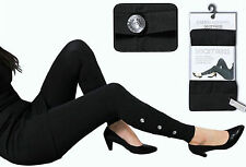 1, 2 oder 4 Stück Damen Leggings   Leggins schwarz mit silbernen Knöpfen   2C3