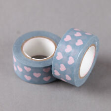 Pink Hearts On Blue Washi Tape, Craft Decorative Tape