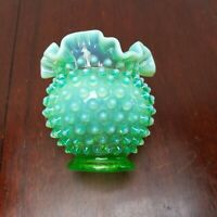 "FENTON Lime Apple Green Opalescent Hobnail 4 1/2"" Ruffled VASE Crimped Opal"
