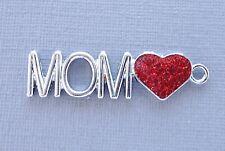 3 pcs MOM Heart Enamel Pendants Charms Dangle Tag  DIY Jewelry findings C192