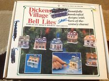 12 Dickens Village Bell Lites Porcelain Ornaments Boxed Bakery Grocery Warehouse