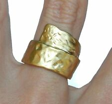 Yellow Gold 24K Plated Hammered Effect Scroll Band Ring Size 6.5 Israel Artisan