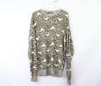 Vtg 80s Streetwear Mens Medium Abstract Geometric Crewneck Knit Sweater Green