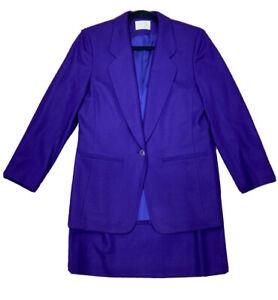 New Pendleton Skirt Suit Womens 8 100% Virgin Wool Purple Classic Separates $158