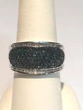 2 Ct.BLUE DIAMOND RING, PLATINUM, .925 STERLING SILVER, SIZE 8 MSRP $2189