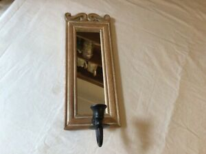 Wall Sconce for Candle. Wooden Framed Mirror. Lovely condition.