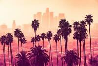 Los Angeles skyline with palm trees in the foreground inch Poster 36x54 inch
