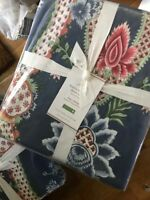 Pottery Barn Blanca Duvet Cover Blue Ivory Queen 2 Standard Shams Floral New