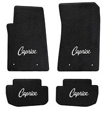 NEW! Black Floor Mats 1965-1968 Caprice Embroidered Script Logo in Silver on all