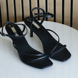 BNWT PRIMARK Ladies Barely There Black Heeled Sandals size UK 8 / EU 41