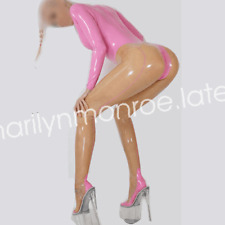 100%Latex Pure Rubber Catsuit Bodysuit Pink and Transparent Suit Size XXS-XXL