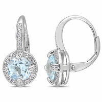 Sterling Silver Sky-Blue Topaz and White Sapphire Halo Leverback Earrings