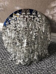 'LAURA ASHLEY'CLEAR JEWEL CLUSTER CHANDELIER CEILING LIGHT. IMMACULATE CONDITION