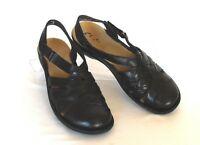 CLARKS Bendables Size 6.5 M Black Leather Strappy Slingback Low-Heel Sandals