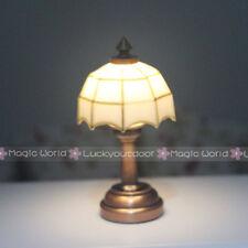 Dolls Desk Table Lamps Bedside Light Mosaic Wireless 3V Dollhouse Miniature 1:12