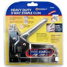 HEAVY DUTY 3 WAY STAPLE NAIL GUN STAPLER UPHOLSTERY WOOD WITH 200 STAPLES NEW