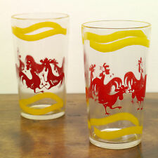 2 Vintage Fighting Cocks Red Rooster Print 11 oz Highball Drinking Juice Glasses