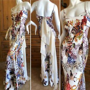 Roberto Cavalli for Just Cavalli Vintage Butterfly & Floral Silk Evening Dress
