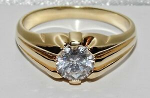 9ct Yellow Gold on Silver Antique Style Single Stone Men's Gypsy Ring ALL SIZES