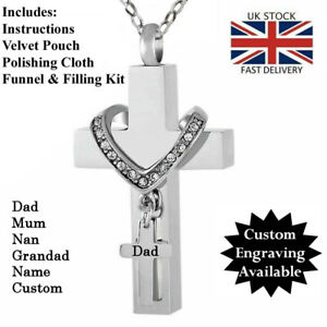 Double Cross Cremation Ashes Necklace Urn, **FREE ENGRAVING**