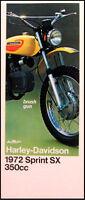 1972 Harley-Davidson ORIGINAL Sprint SX 350 Brochure 72 Motorcycles