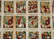 Sweet Adeline Gay 90's Quilt Blocks People Cars Bicycles Red Rooster Fabric BTY