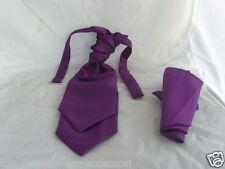 <GG> Cadbury Purple BOYS Polyester Scrunchie Ruche Tie-Cravat and Hankie Set
