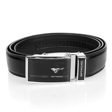 Septwolves Men Belt Real Genuine Leather Auto Lock Buckle Cow Skin Black 1036510