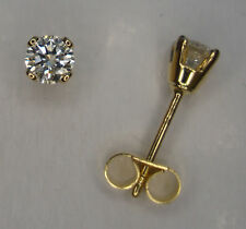 1/10CT DIAMOND 9ct YELLOW GOLD 4 CLAW STUD EARRINGS + SCROLLS + BOX
