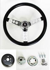 "NEW! 1965-1969 Ford Mustang Logo Grant Black Steering Wheel 13.5 inch 13 1/2"""