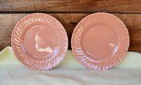 "2 VTG Franciscan Ware Coronado Glossy Swirl Coral Salad Dessert Plates 7 3/8"""