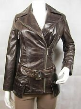 Ladies Brown Glaze Leather Slim Tight Fitted Biker Jacket Bike