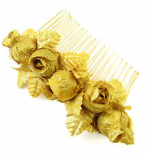 Gold Rose Flower & Leaves Hair Comb Baroque Bridal Wedding Headpiece Vintage 946