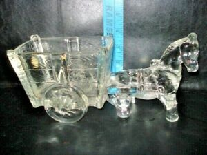 Vintage Glass Donkey Pulling Cart Candy Container dish mule jackass horse wagon