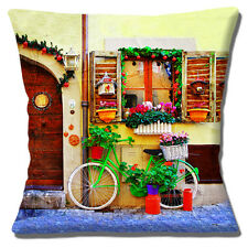 "NEW Vintage Retro Italian Village Bicycle Windowboxes 16"" Pillow Cushion Cover"