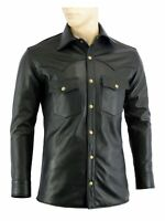 Men's Soft Black Leather Slim Fit Full Sleeve Button up Shirt